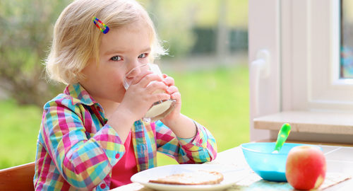 Happy little child, blonde curly toddler girl, enjoying healthy breakfast eating yogurt, sandwich and apple and drinking milk sitting in at bright sunny kitchen next to big garden view window
